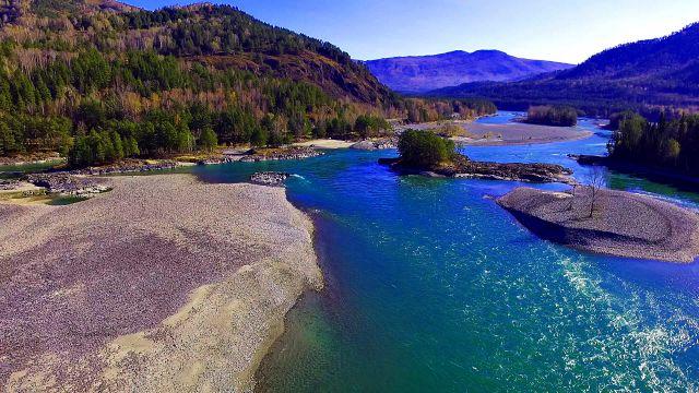 Бирюзовая река Катунь на Алтае в осенних красках.